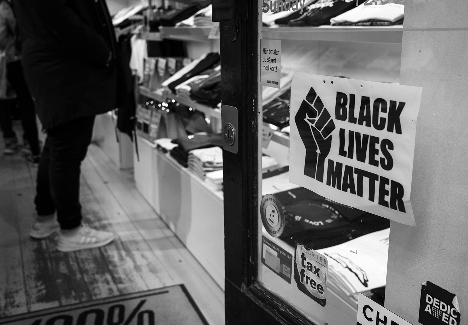 Black Lives Matter sign on window
