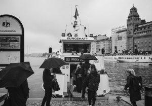 People boarding a boat