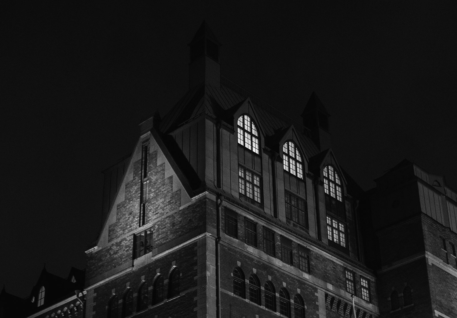 Creepy building at night