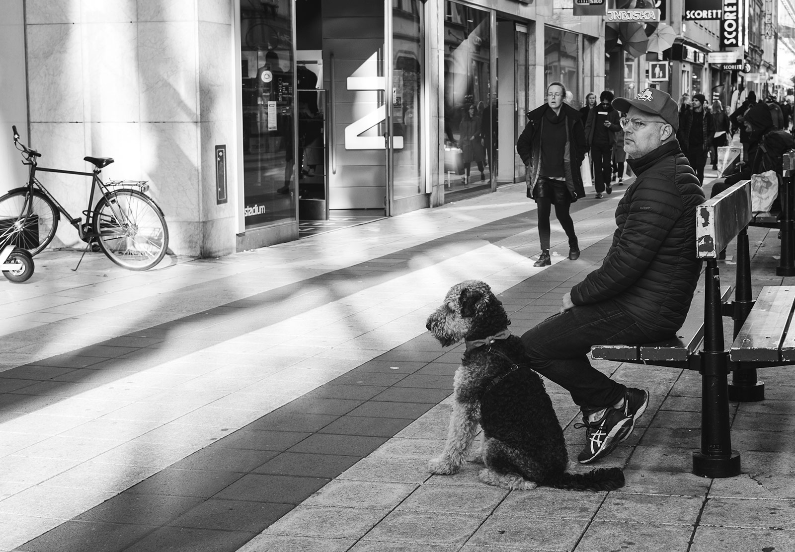 Man sitting with dog