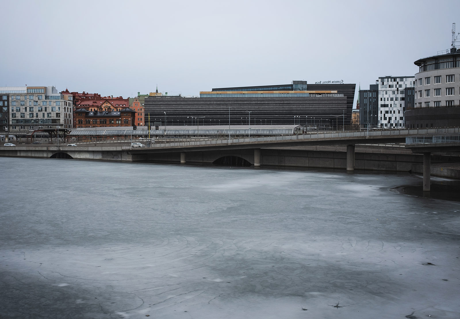 Blue ice on water