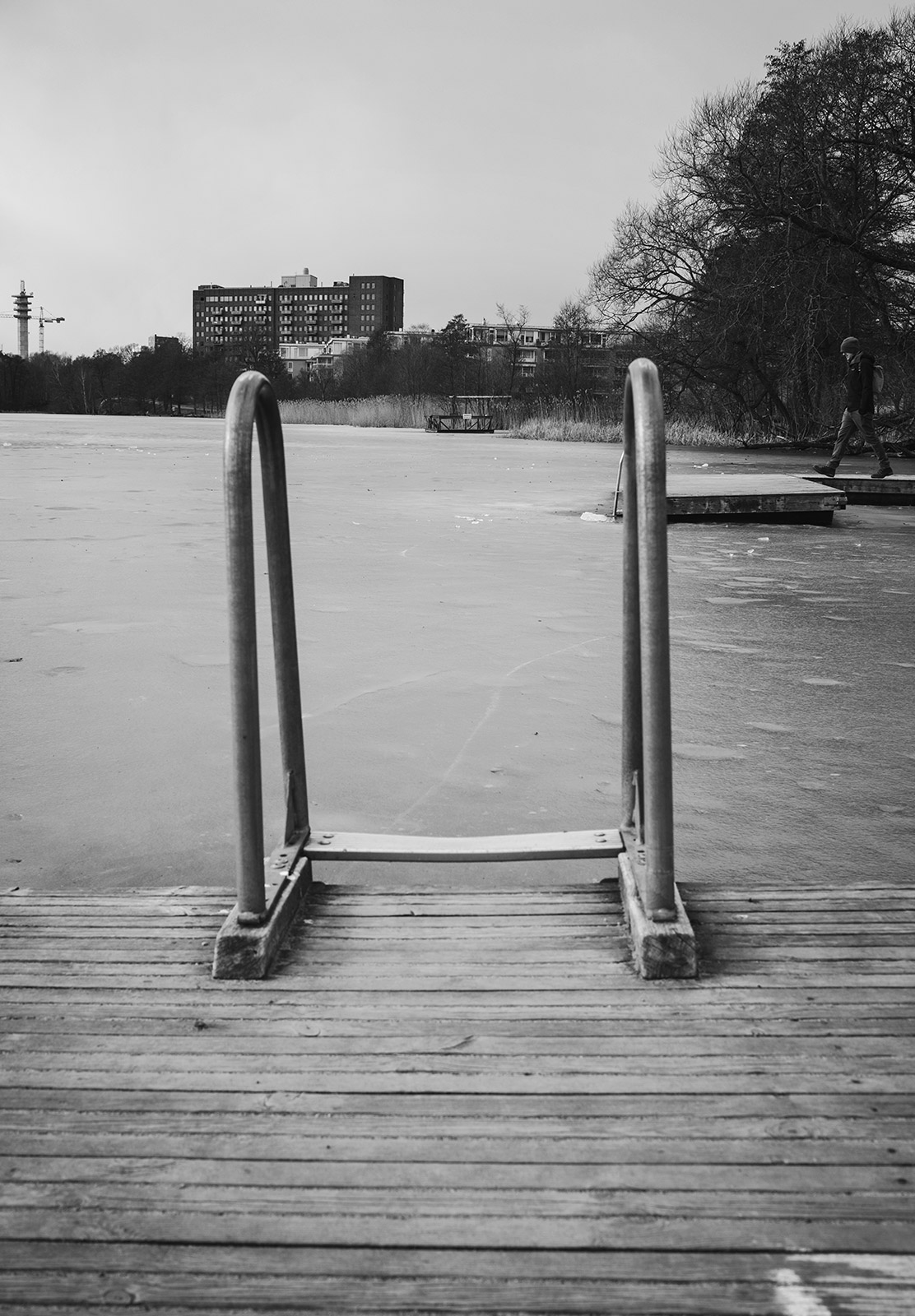Swim steps into frozen water