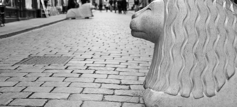Concrete lion statue
