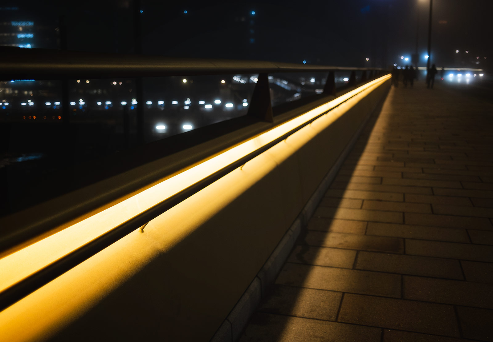 Strip of yellow lights