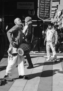 Man dancing with drum