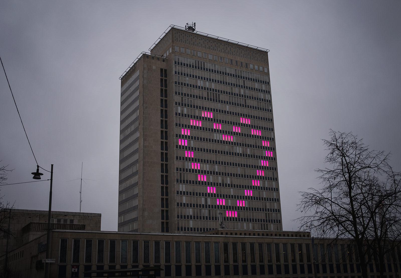 Pink windows in heart shape
