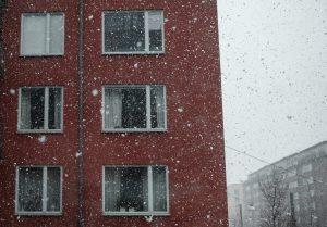 Snow falling outside