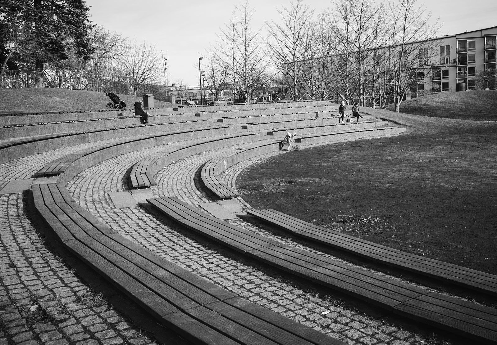 Curved wooden seats