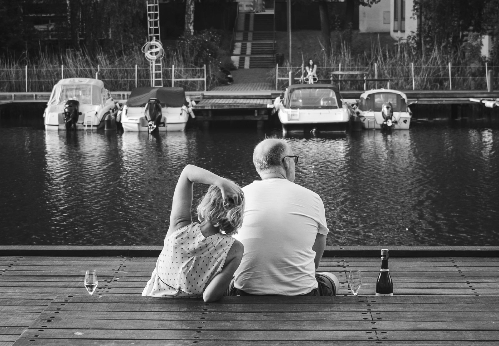 Couple sat with wine