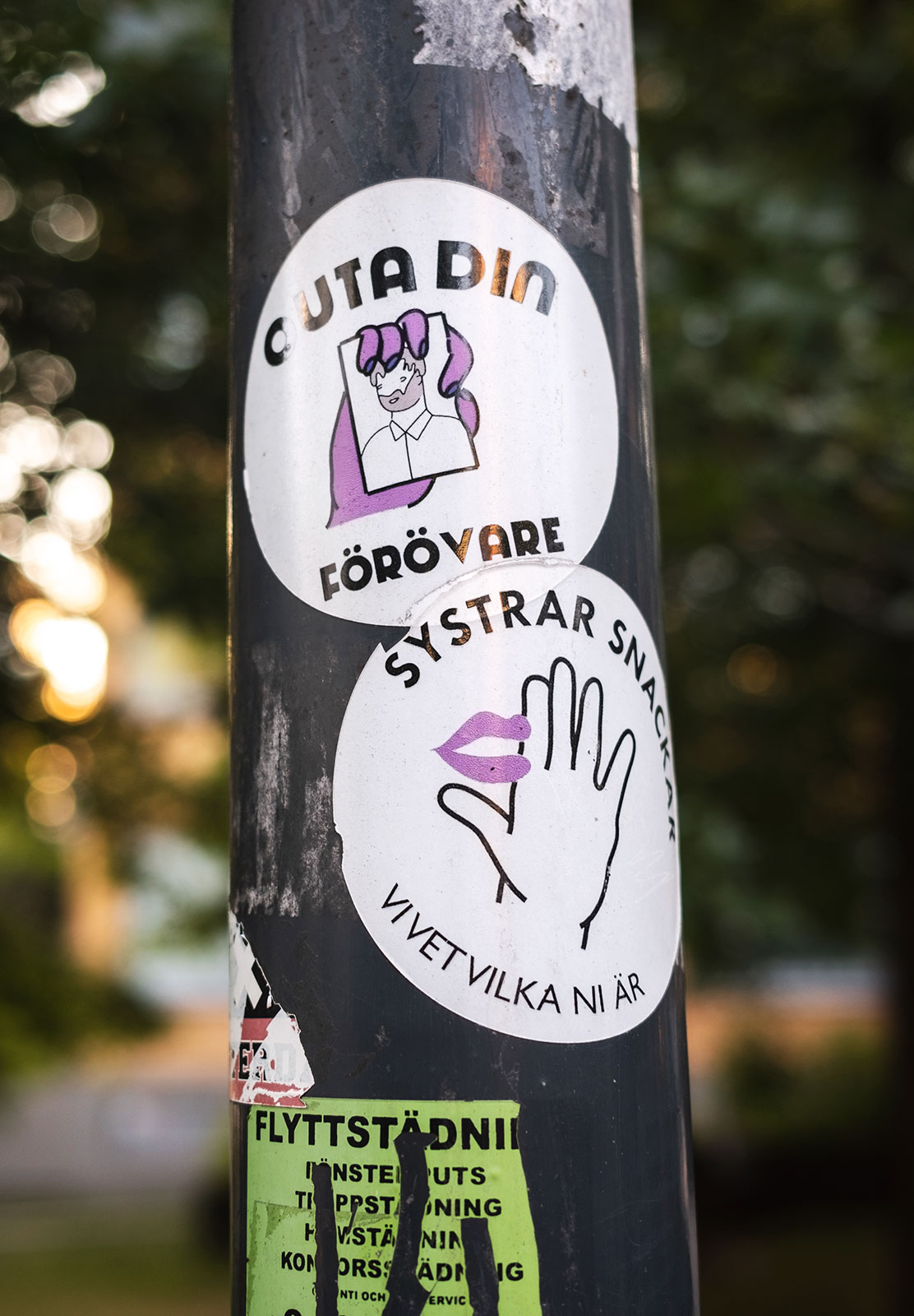 Stickers on lamp post