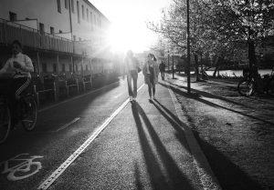 People walking in the sun