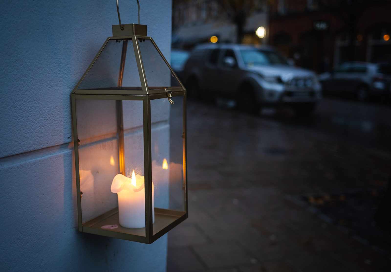 Candle lantern on a wall