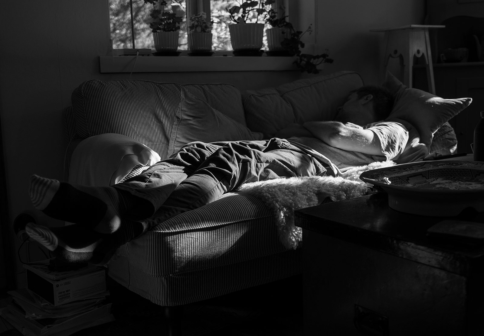 Man napping on the sofa