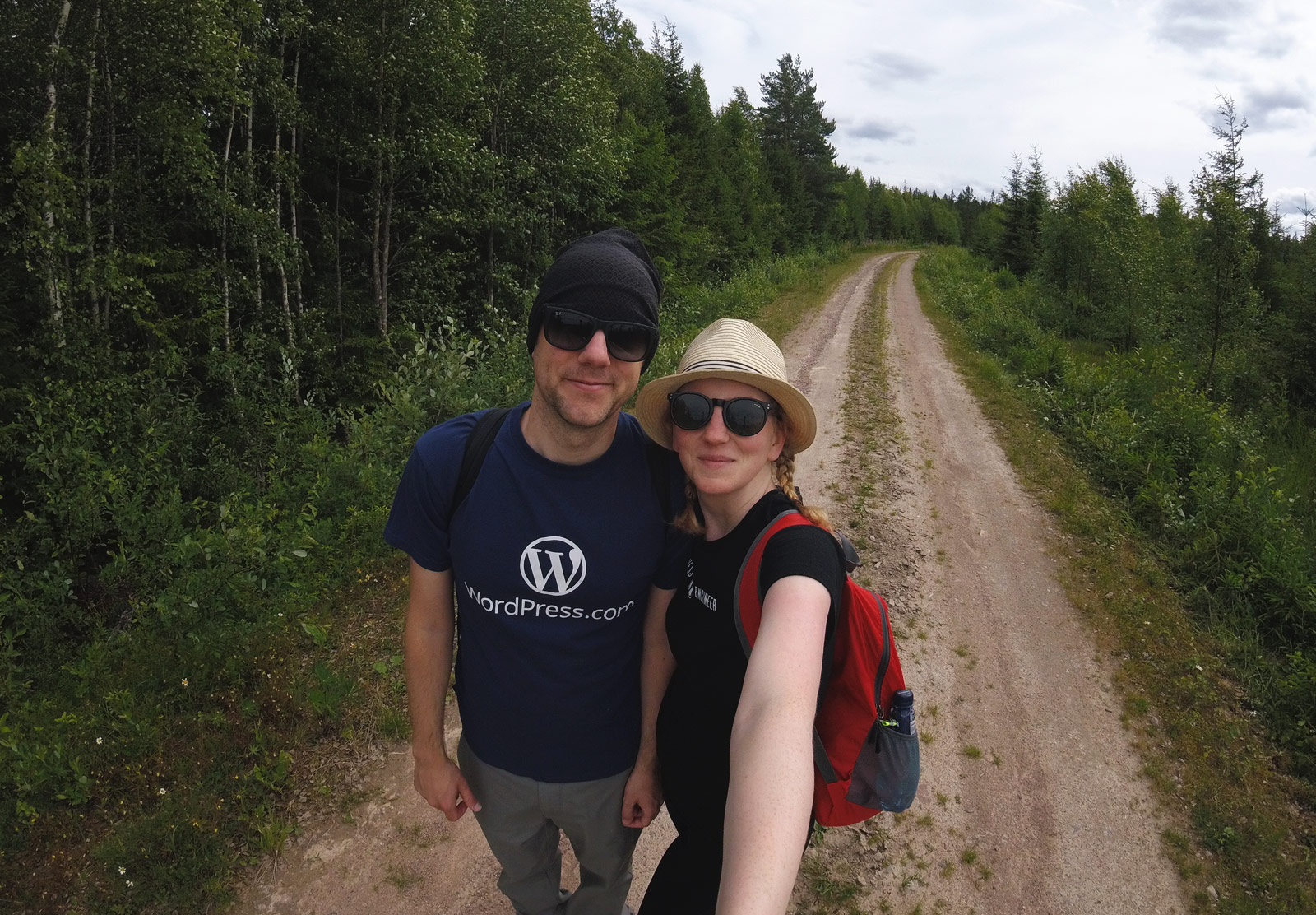 Couple on hiking trail