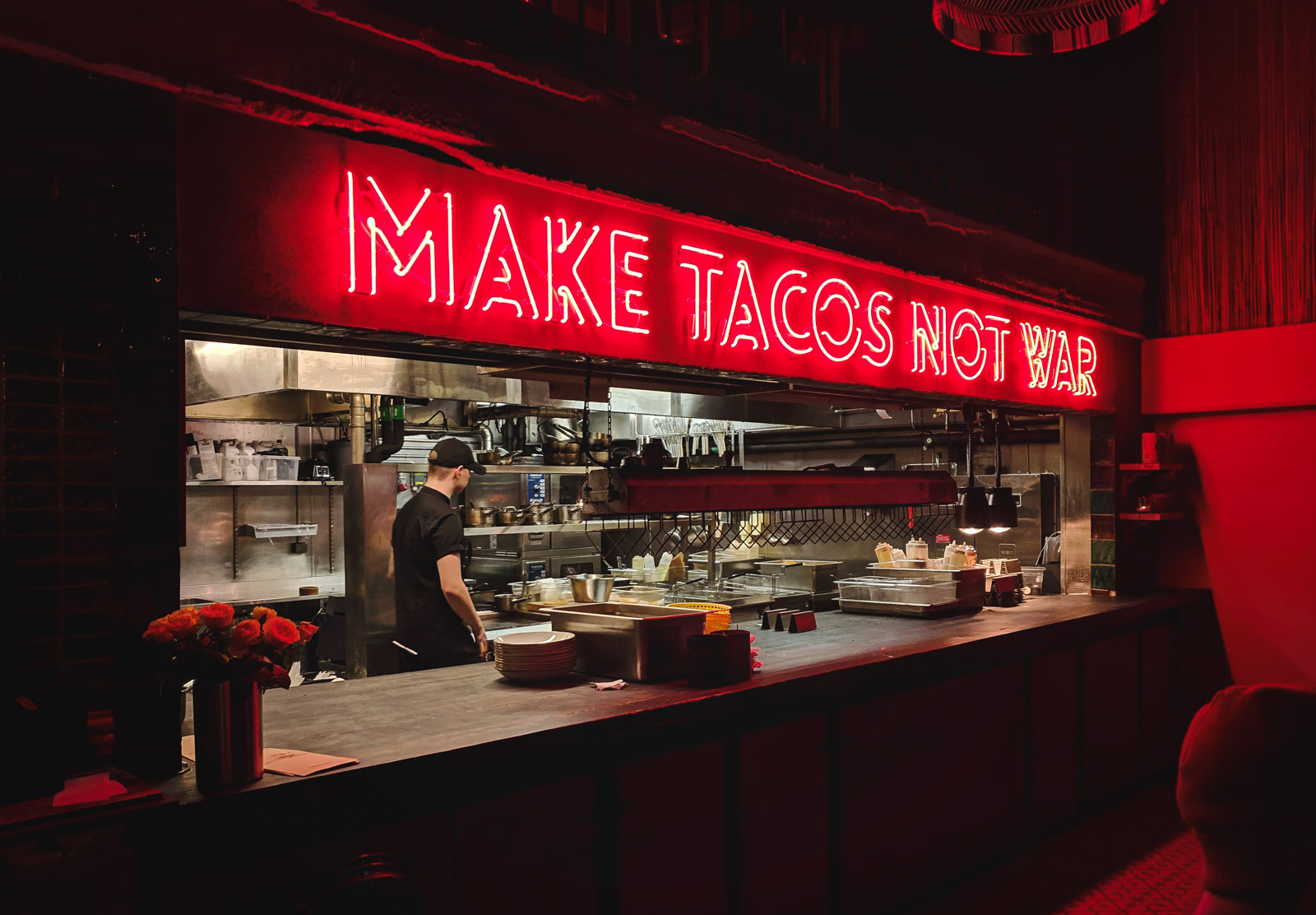 Makes Tacos Not War sign