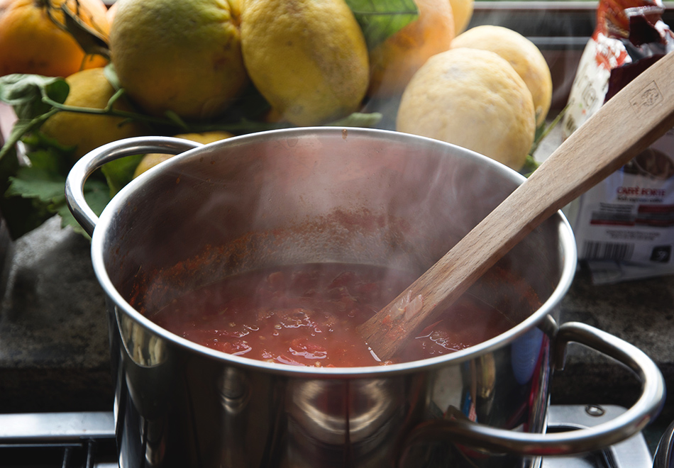 Tomato sauce in pan