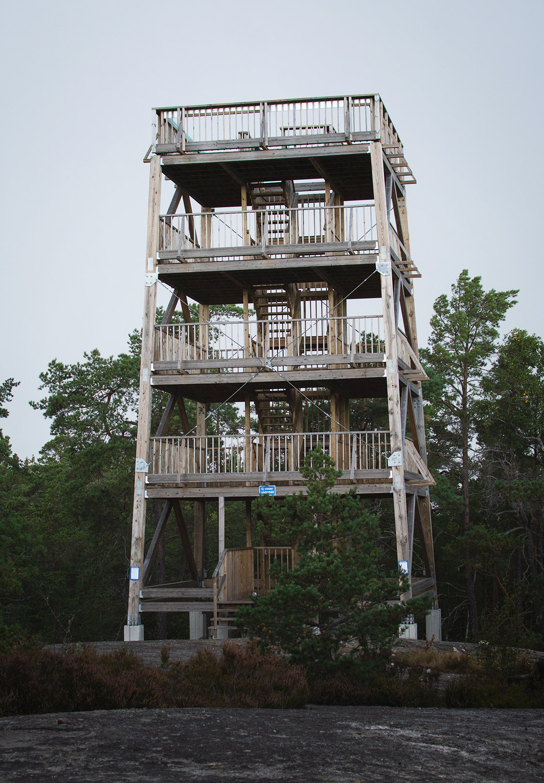 Wooden tower in the forest