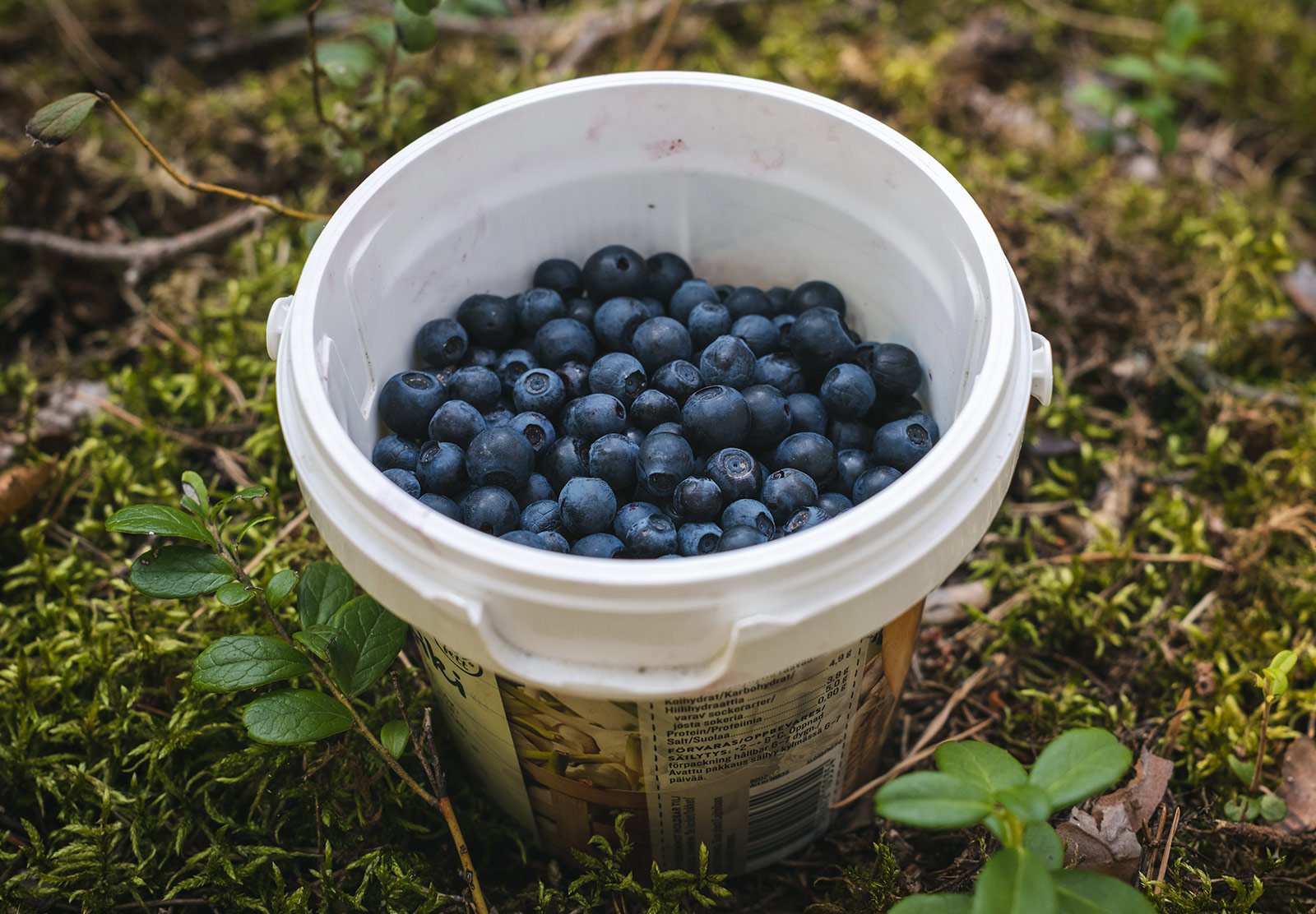 Tub filled with berries