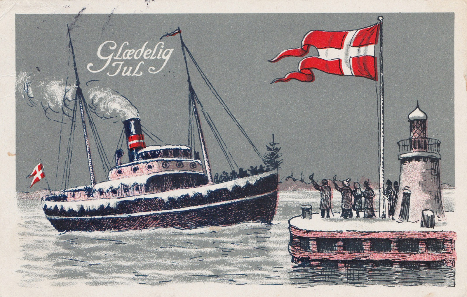 Illustrated boat on postcard