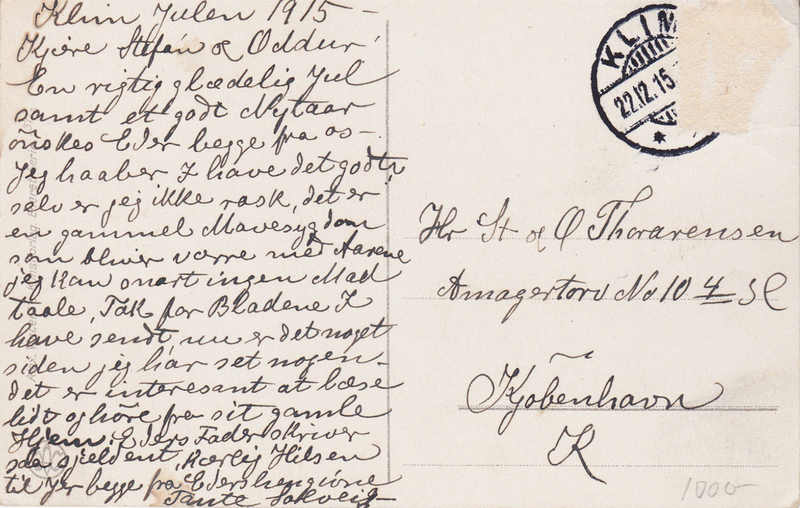 Danish writing on postcard