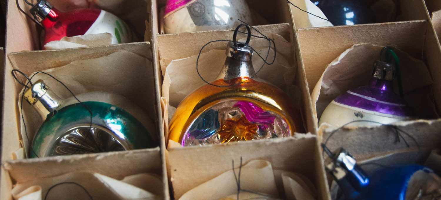 Colourful baubles in box