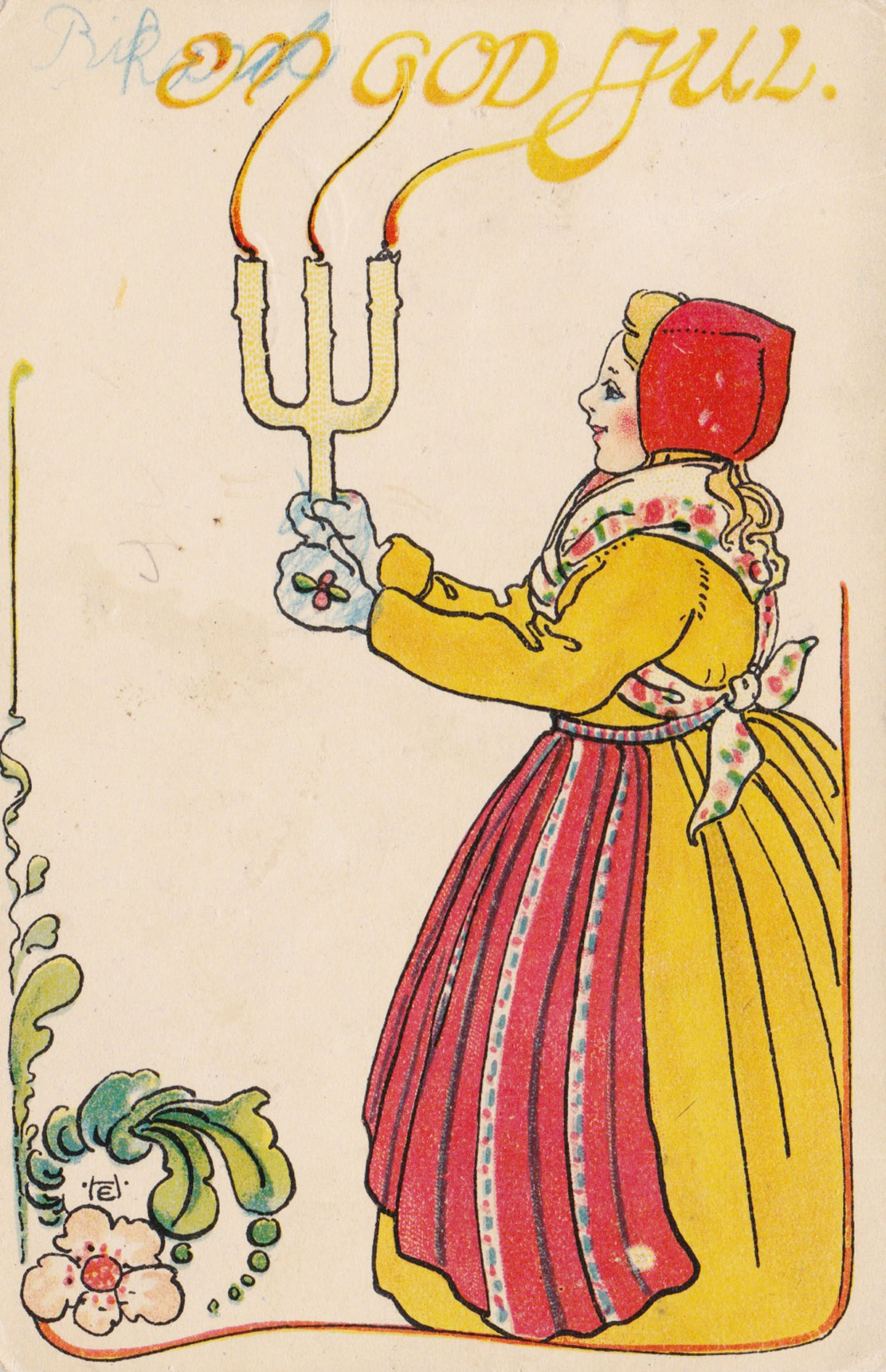 Illustration of lady with candles