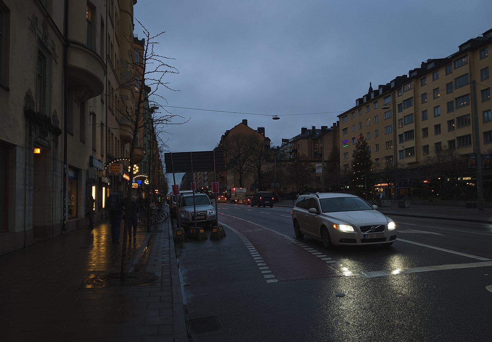 Blue grey light on street
