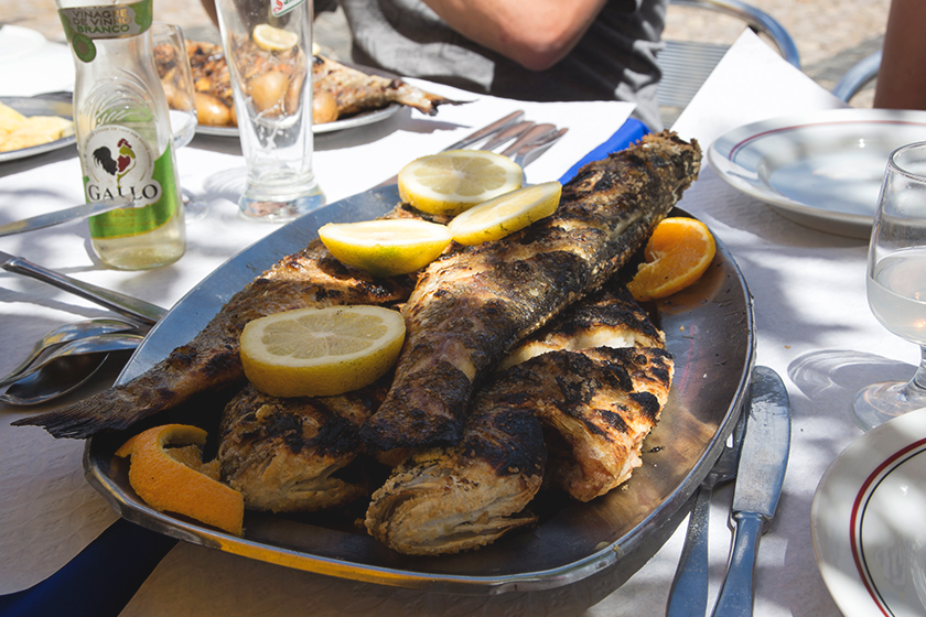 Plate of whole grilled fish