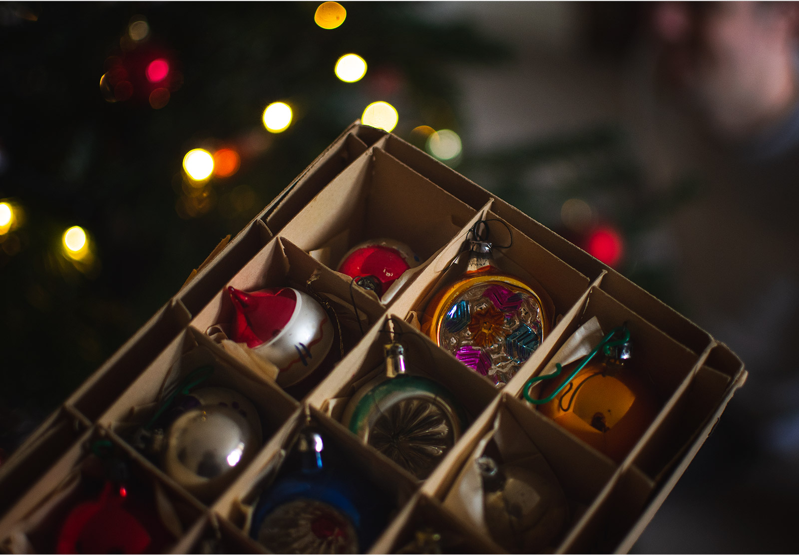 Colourful ornaments in box