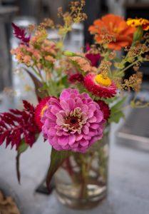 Pink flowers in jar